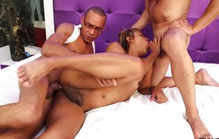 Big ass shemale Andrea Juliana gets double teamed by perverts
