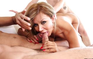 Lusty blonde trans babe Naomi Chi has hardcore anal threesome