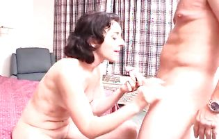 Sweet Alexandra sucks her dude's ramrod after being doggy styled