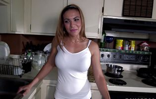 Stunning maid Kylie Rogue cleans the floor in the nude