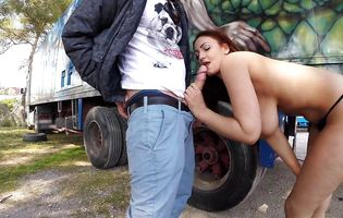 Trucker takes an advantage of Sarah while on a break