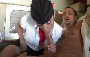 Lucky guy fucks Aimee and Ariella the hot fly attendants