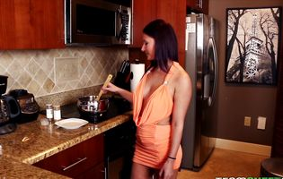 Stella Stone prepares a meal for her hung bald fucker