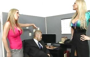 Two stunning blonde bimbos have lesbian sex in the office