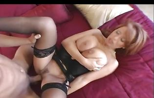 Big breasted milf Sienna wears stockings while being roughly pounded