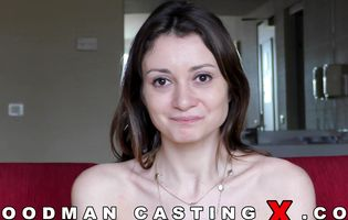 Skinny babe strips her clothes and spreads pussy on casting