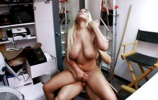 Wicked blonde hottie Bridgette B bounces on a hard cock