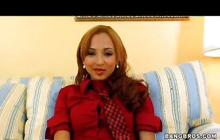Stupendous latin brown-haired angel Veronique gets ready to fuck with her stud